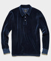 Velour Long Sleeve Polo in Notte