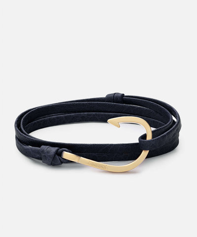 Miansai Hook Navy Leather Bracelet Matte Gold