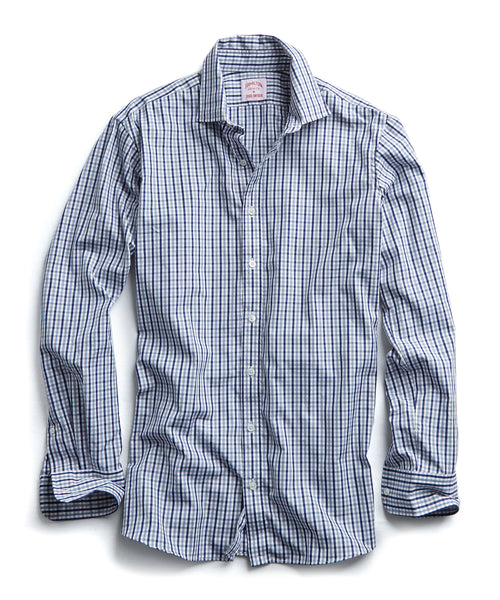Made in the USA Hamilton + Todd Snyder Tattersall Dress Shirt in Navy/Grey