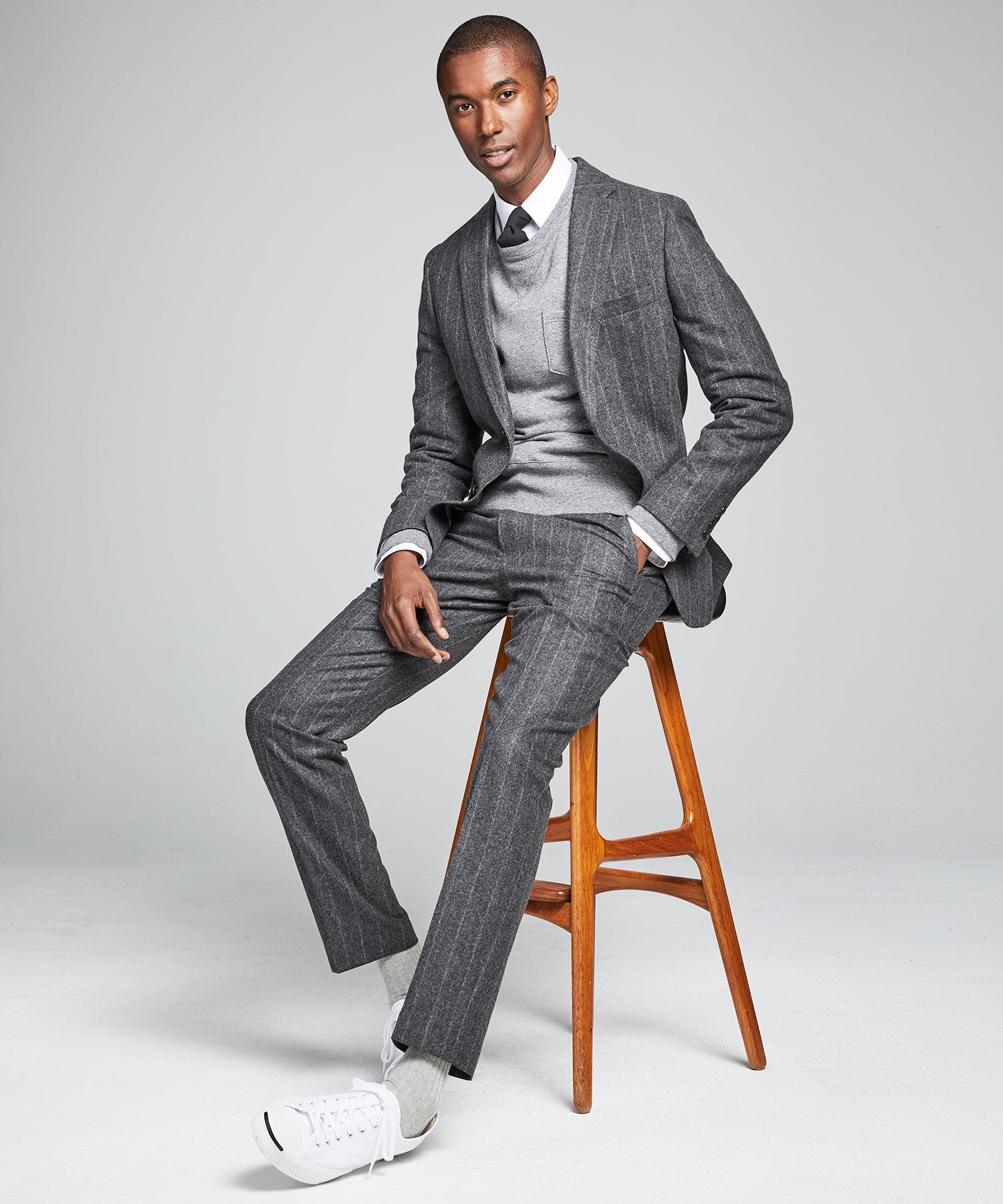 Wool Chalk Stripe Sutton Suit in Charcoal