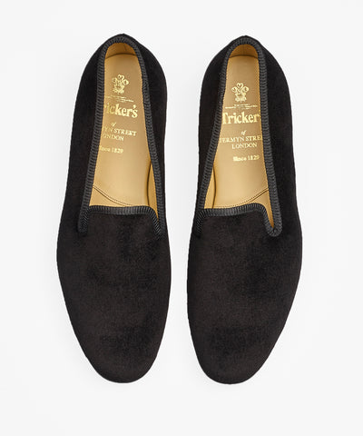 Trickers Churchill Black Velvet Slippers