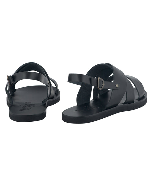 Ancient Greek Sandals Miltos Leather Beach Sandal in Black