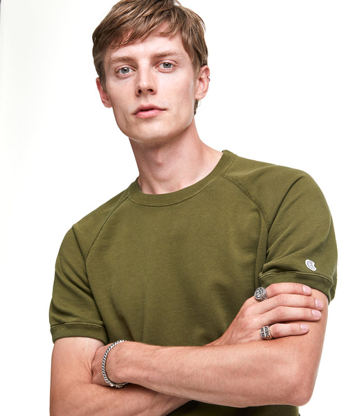 Short Sleeve Sweatshirt in Military Olive