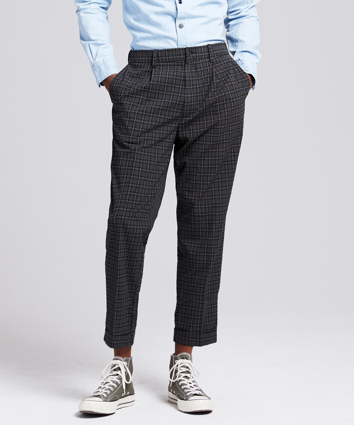 Seersucker Tartan Pleated Relaxed Trouser