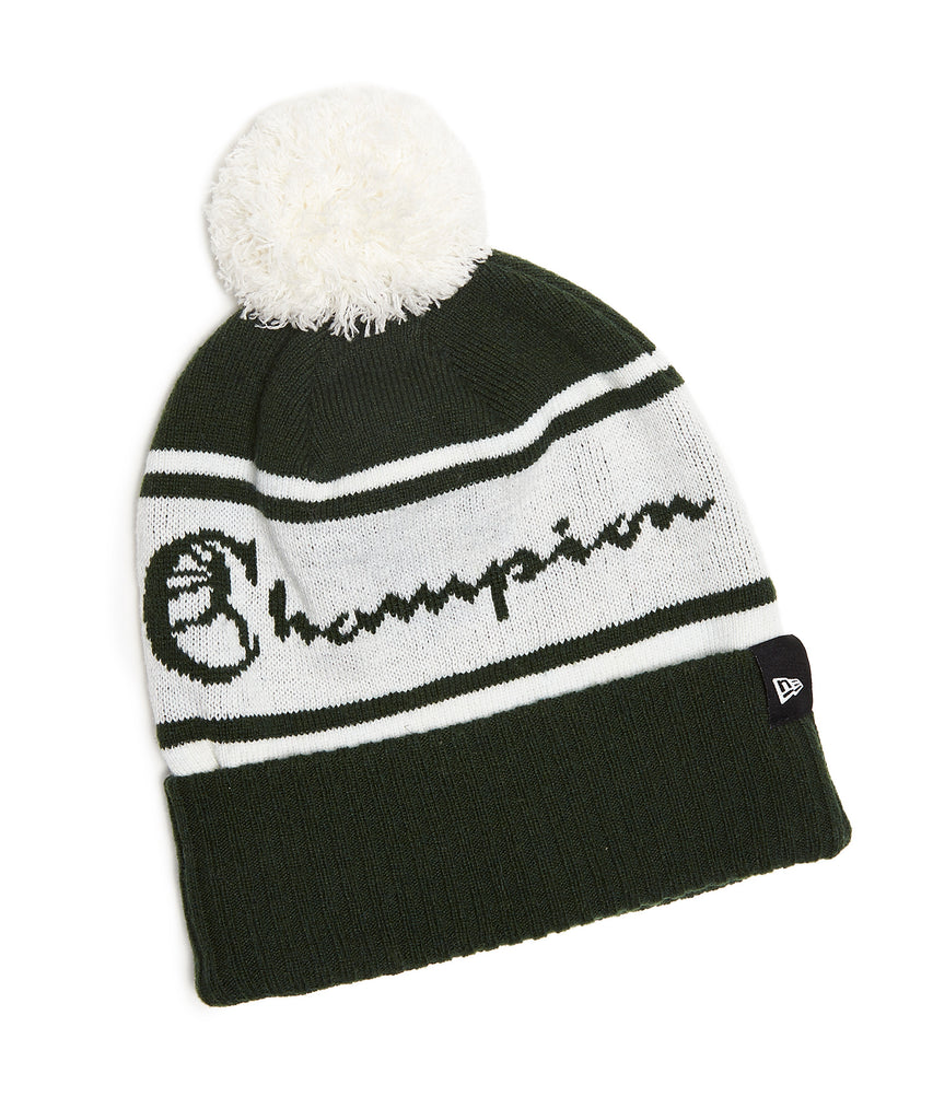 9015379776711 Champion + New Era Pom Pom Beanie in Dark Green
