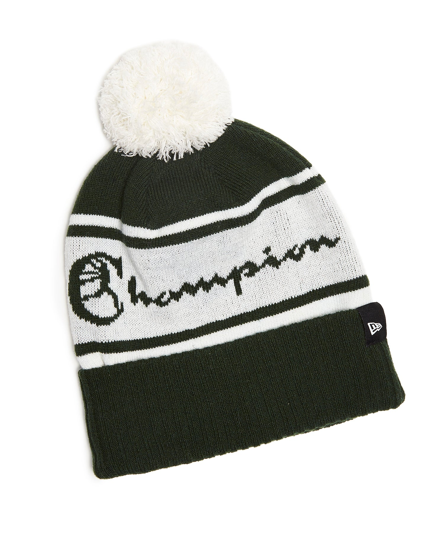 Champion + New Era Pom Pom Beanie in Dark Green