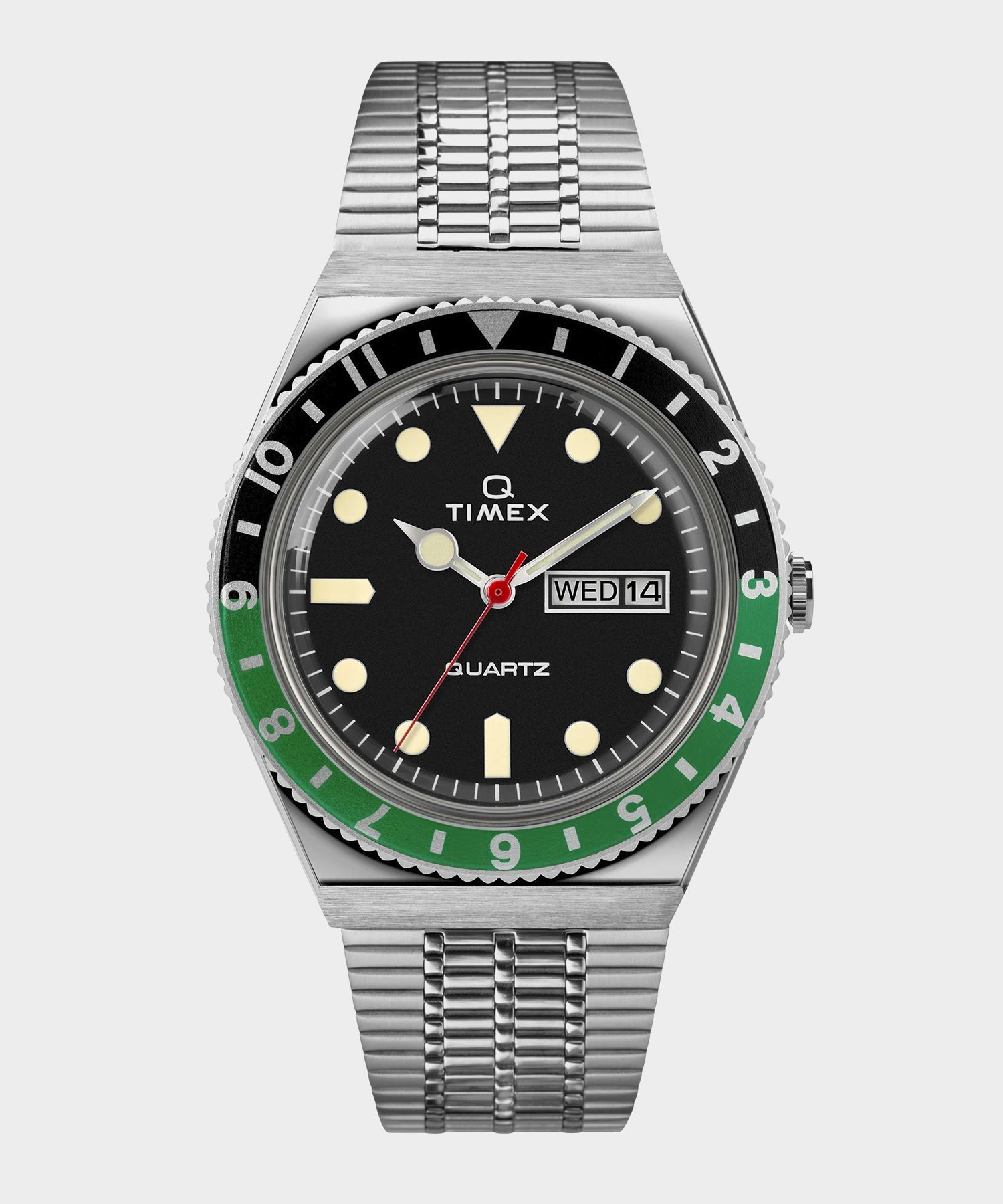 Q Timex Reissue Black Dial with Black/Green Ring Bracelet Watch
