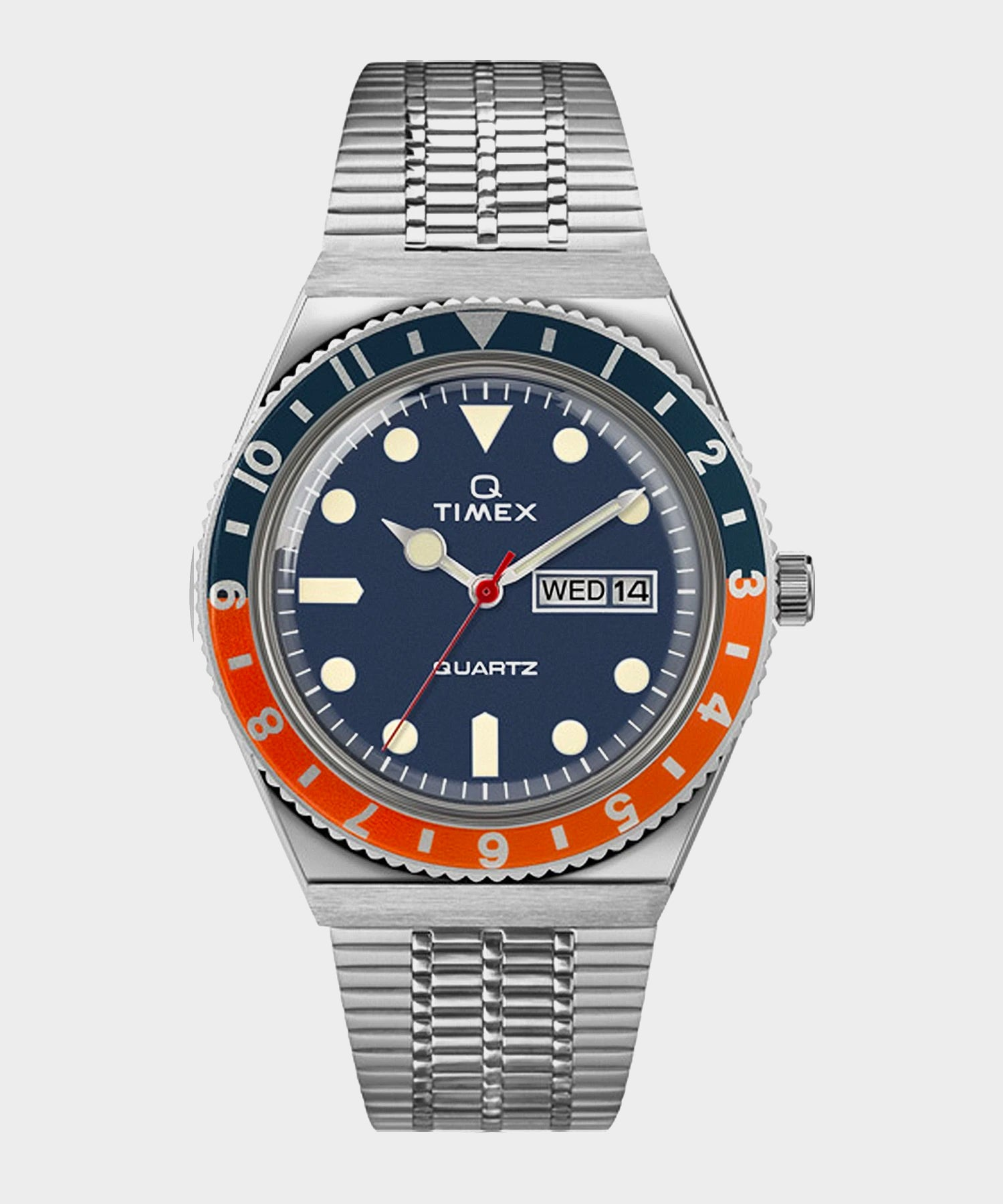 Q Timex Reissue Navy Dial with Navy/Orange Ring Bracelet Watch