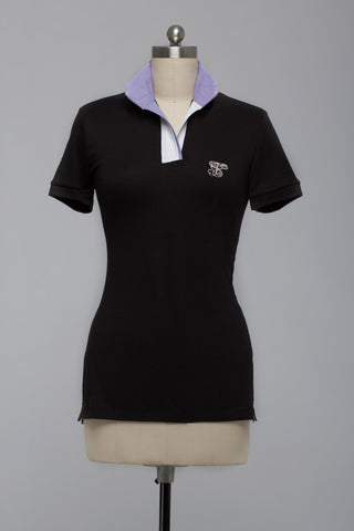 Le Fash Show Polo Black with Lilac Trim