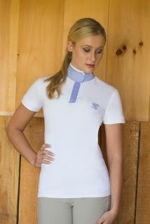 Le Fash Organic Bamboo Convertible Polo Shirt White and Blue Style # LF04 B