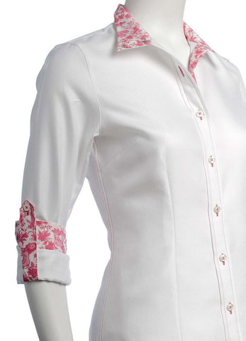 Cheval Show Shirt - White w/ Pink Toile