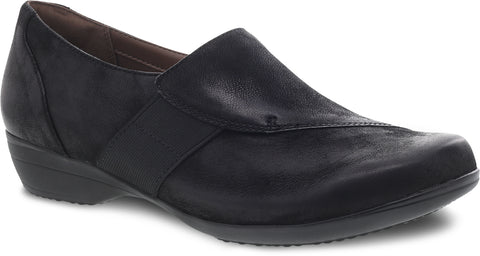 Dansko Fae in Black Burnished Nubuck - Right 3/4 View