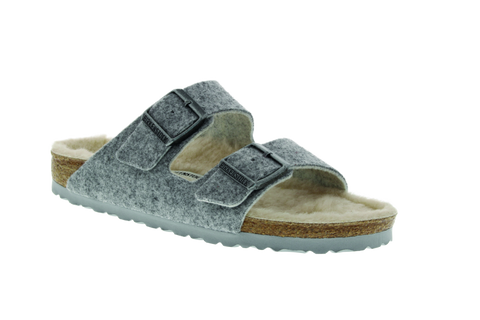 Birkenstock Arizona Happy Lamb in Light Gray