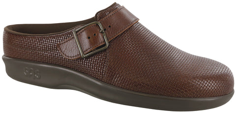 SAS Clog in Woven Brown Leather - 3/4 View