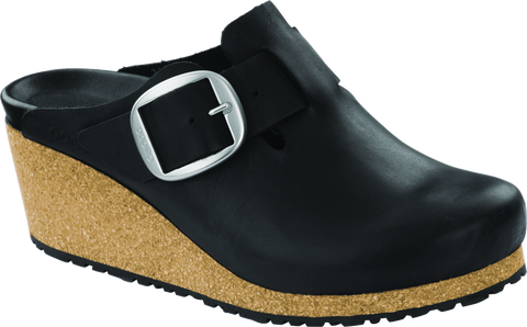 Birkenstock Fanny Big Buckle in Black Oiled Leather