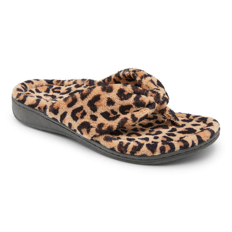 Vionic Gracie Toe Post Slipper in Natural Leopard - Right 3/4 View