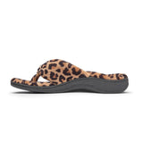 Vionic Gracie Toe Post Slipper in Natural Leopard - Inside View
