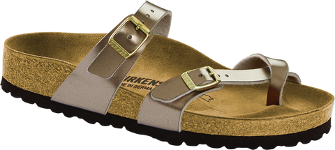 Birkenstock Mayari in Electric Metallic Taupe Birko-Flor
