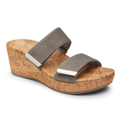 Vionic Pepper Wedge Sandal in Slate Grey - Right 3/4 View