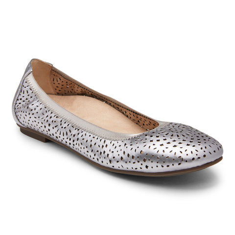 Vionic Robyn Flat in Pewter - Right 3/4 View