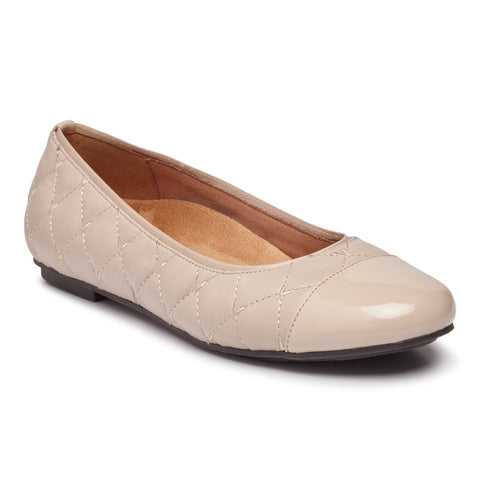 Vionic Desiree Quilted Flat in Nude Leather - Right 3/4 View
