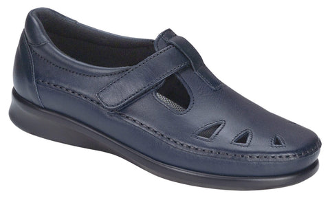 SAS Roamer in Navy Leather - Right 3/4 View