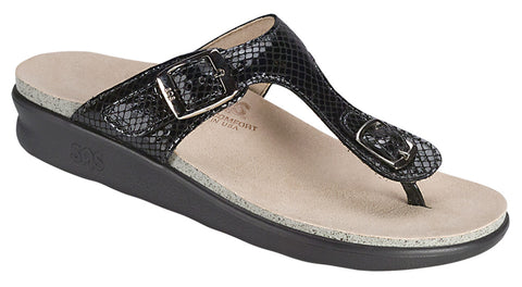 SAS Sanibel in Black Snake Leather - Right 3/4 View