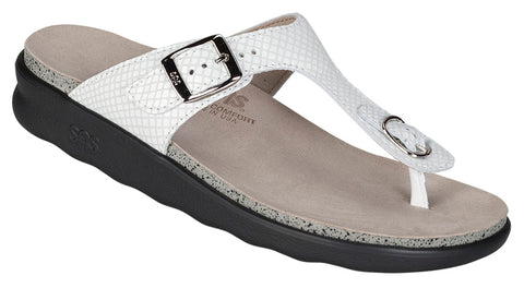 SAS Sanibel in White Snake Leather - Right 3/4 View