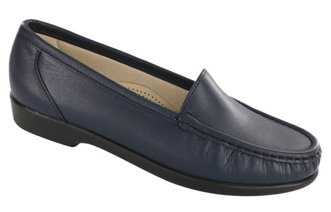 SAS Simplify in Navy Leather - Right 3/4 View