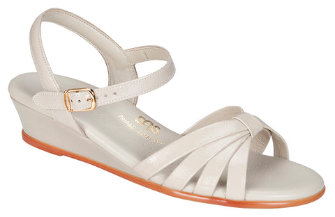 SAS Strippy in Bone Patent Leather - Right 3/4 View