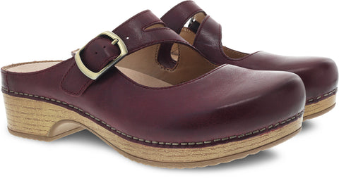 Dansko Britney in Wine Waxy Burnished Leather - Pair