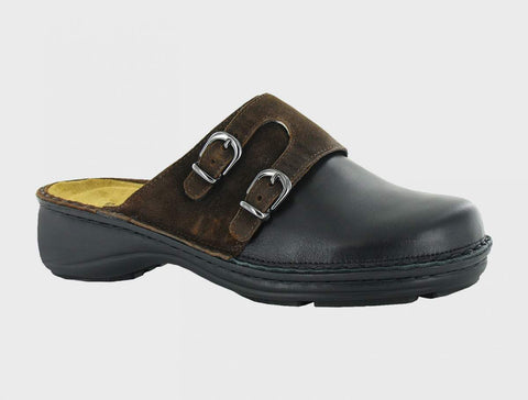 Naot Leilani in Black Raven Leather / Seal Brown Suede