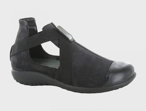 Naot Rakua in Black Velvet Nubuck / Black Madras Leather