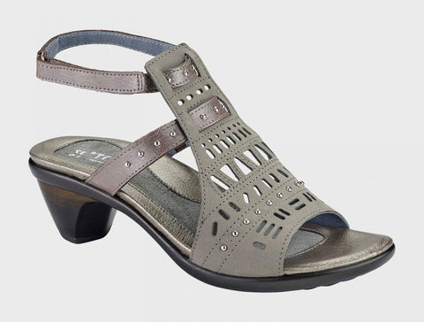 Naot Vogue in Light Grey Nubuck / Silver Thread Leather