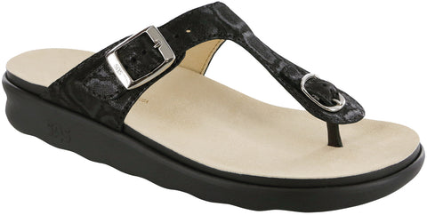 SAS Sanibel in Nero Snake Leather - Right 3/4 View