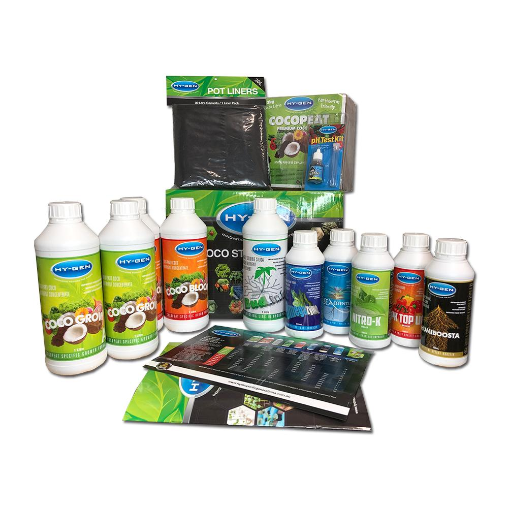 HyGen Starter Kit | | 1L Nutrients | 500ml Additives | Coco Brick | pot sock | pH Test Kit