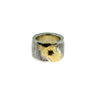 15mm Hammered Ring with Gold and Ruby