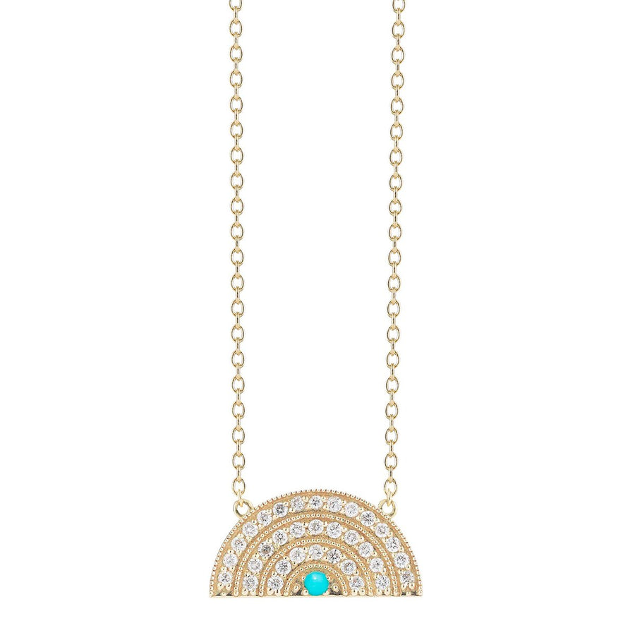 Rainbow Necklace 3 Rows Turquoise Diamonds