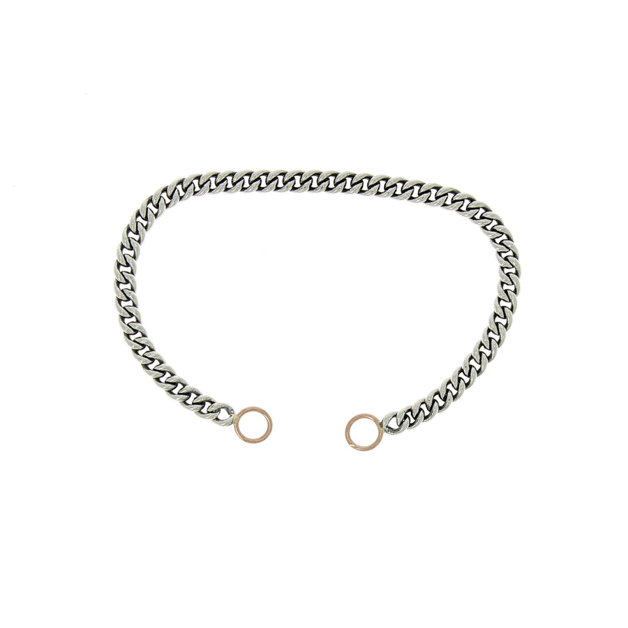 "7"" heavy curb chain bracelet with rose gold loops"