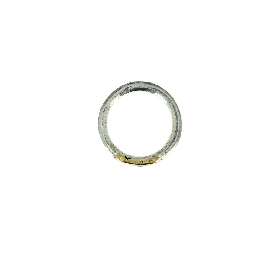 7mm Hammered Ring with Gold and Ruby