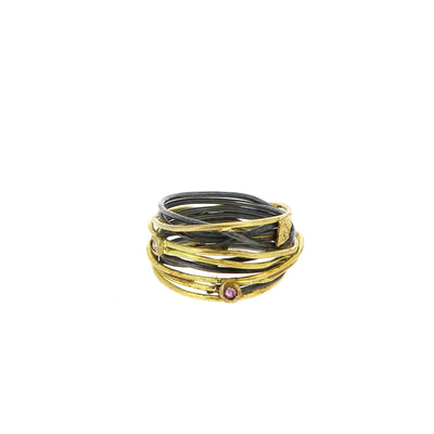 Silver and Gold Wire Ring