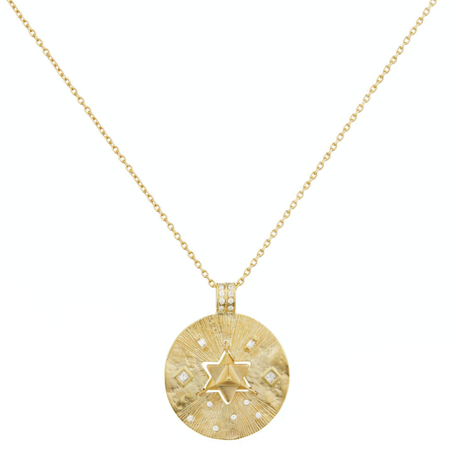 Old Coin Diamonds and Merkaba Medal Necklace