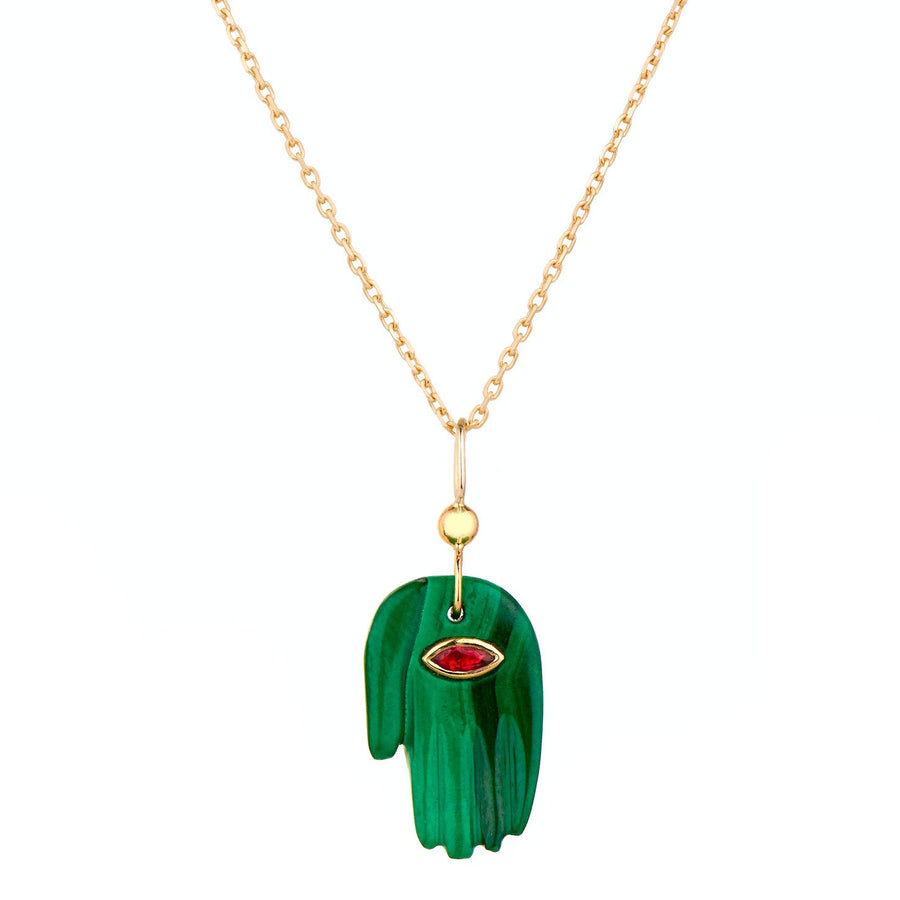 Baby Malachite Hand and Ruby Marquize Eye Necklace