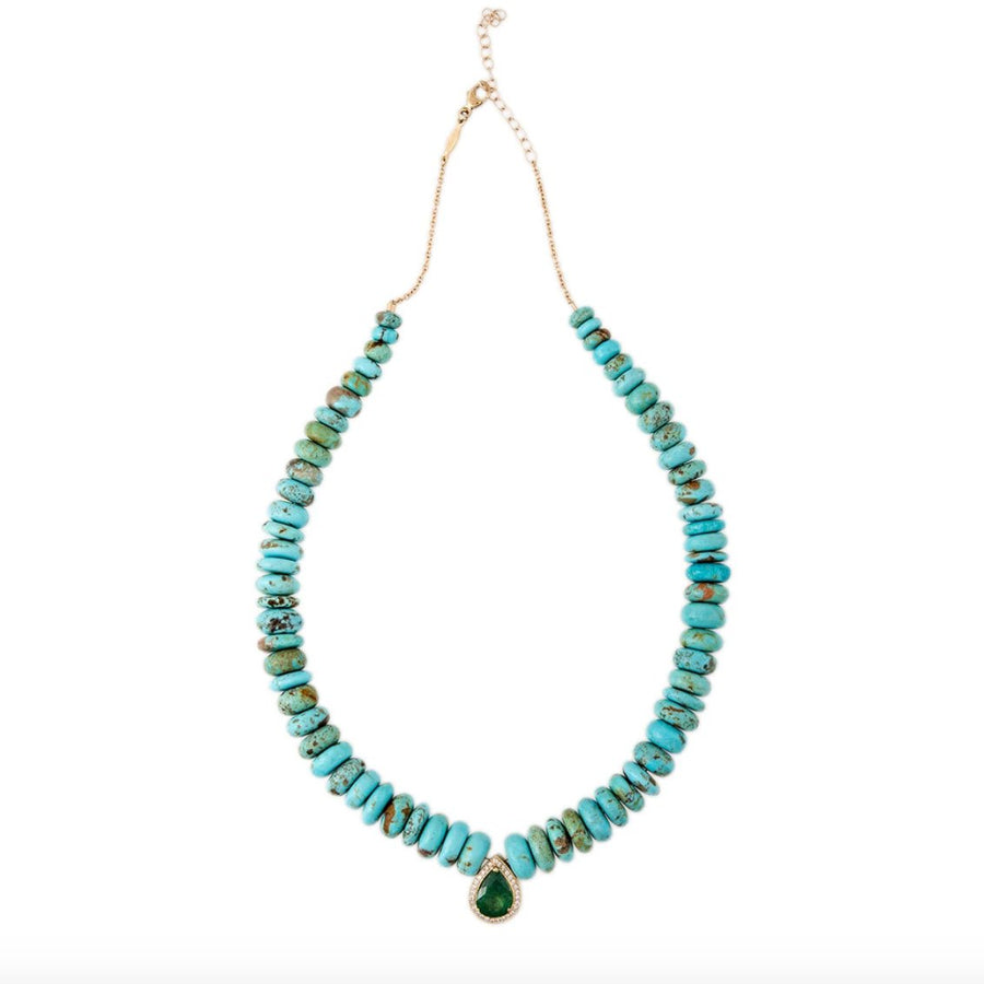 Pave emerald teardrop necklace