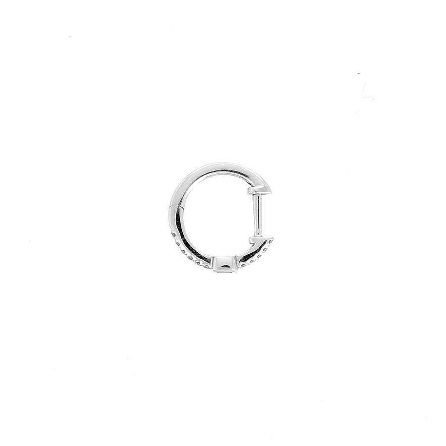 Pave diamond hoop with baguette white gold
