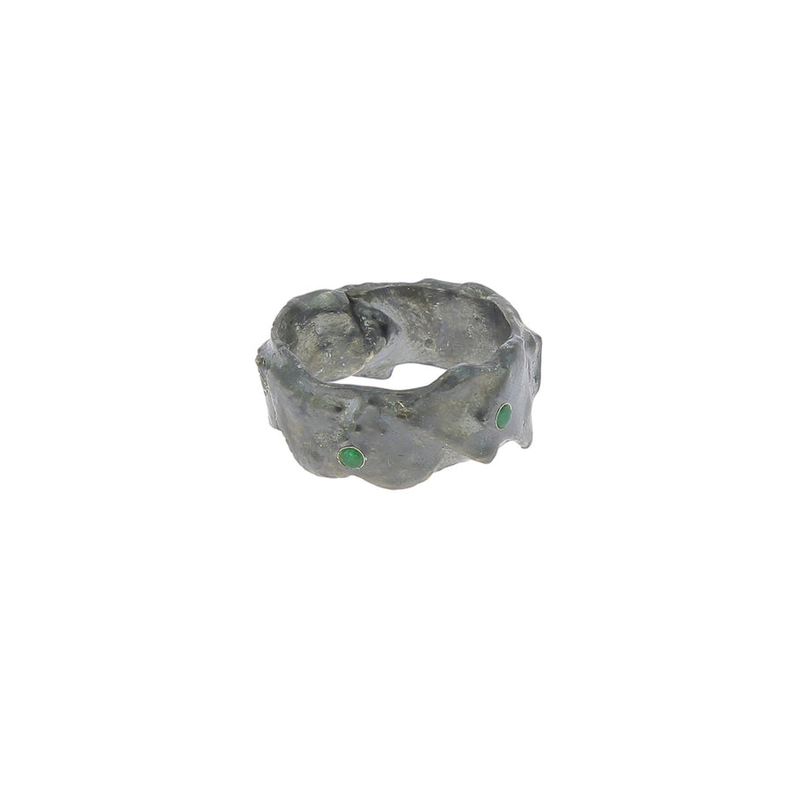 Silver ring emeralds (0.51cts)