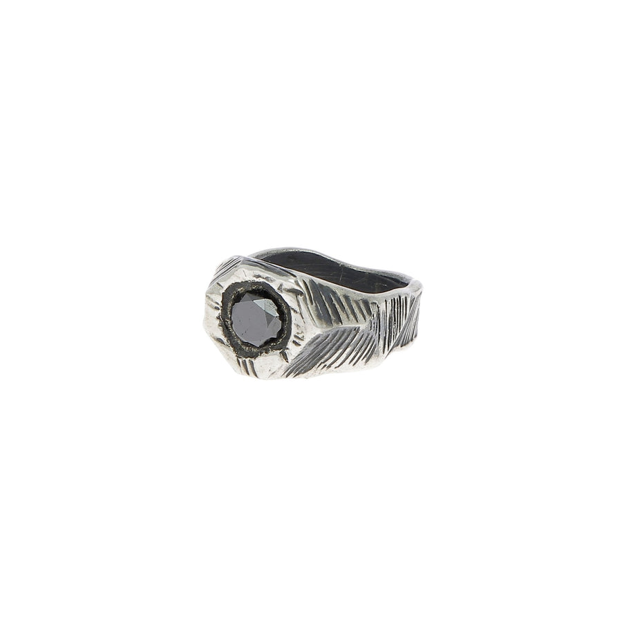 Silver ring black diamond