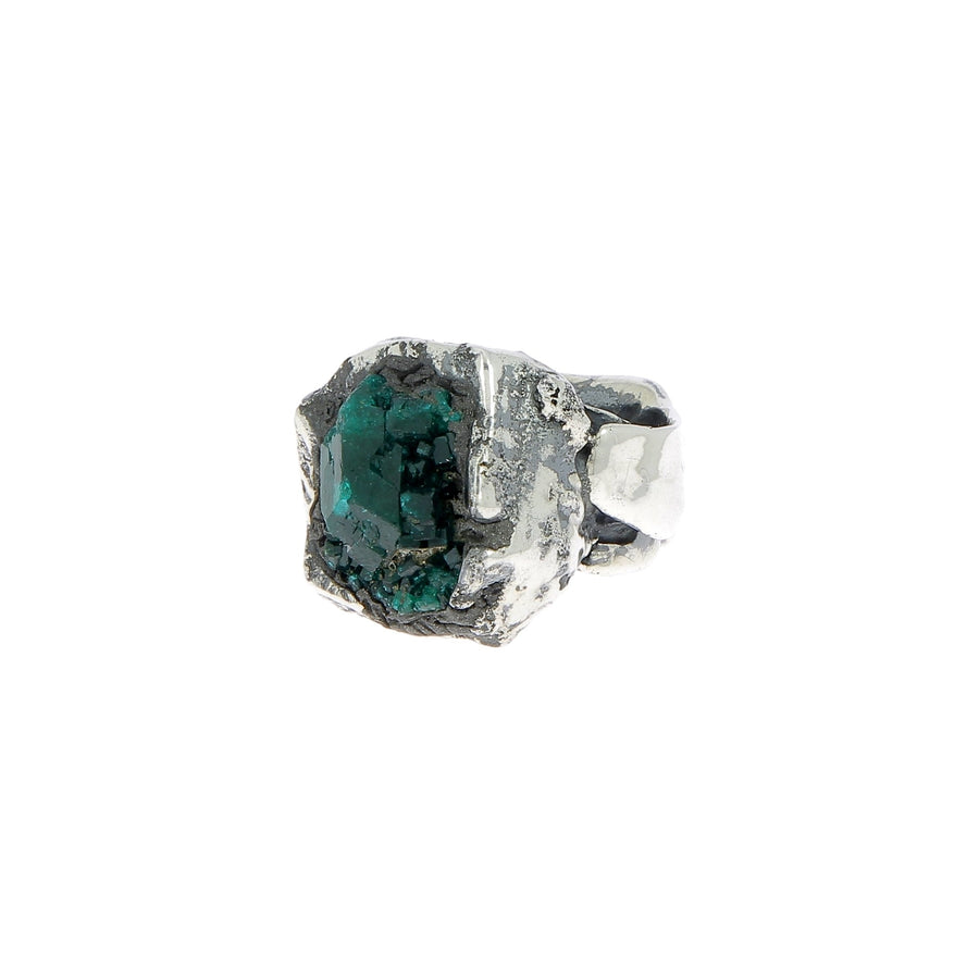 Silver ring with uncut emerald