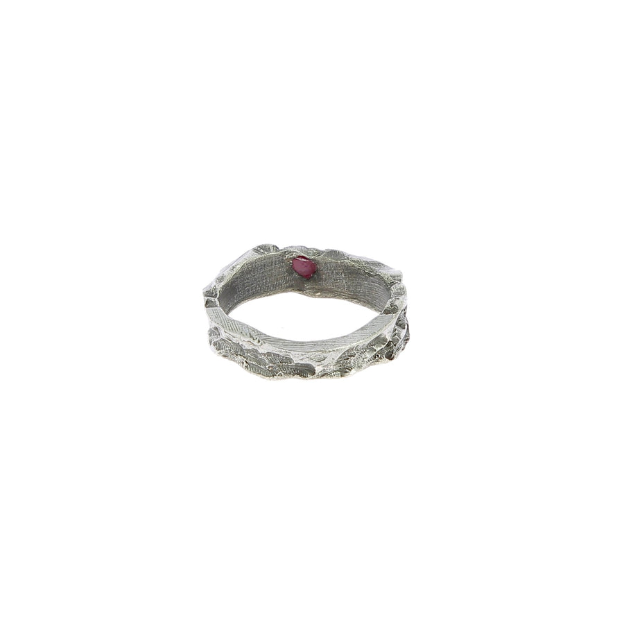 Ruby spike silver ring