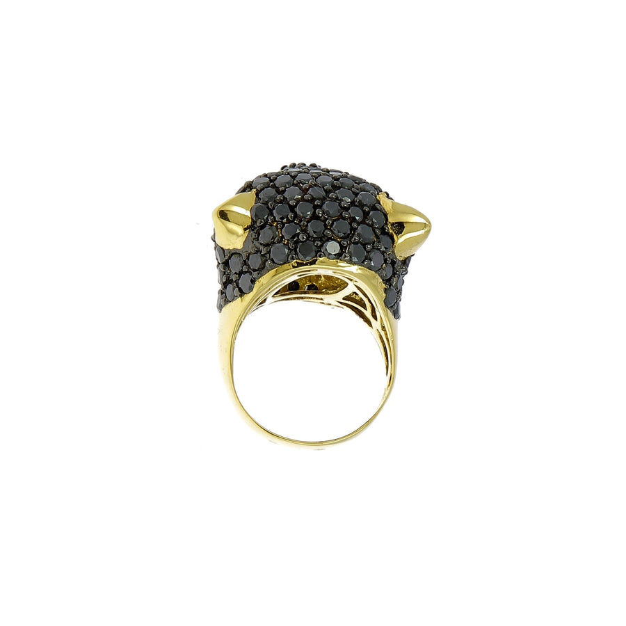 Black panther ring with black and white diamonds